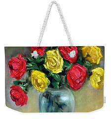 Red And Gold Luminesence  Weekender Tote Bag by Randy Burns