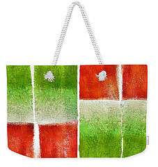 Red And Green Abstract Weekender Tote Bag