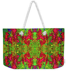 Red And Green Floral Abstract Weekender Tote Bag by Linda Phelps