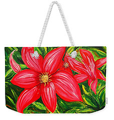 Red And Green Weekender Tote Bag by J R Seymour