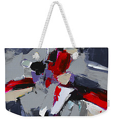 Weekender Tote Bag featuring the painting Red And Grey Abstract By Elise Palmigiani by Elise Palmigiani