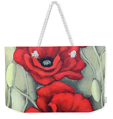 Red And Grey Weekender Tote Bag by Inese Poga