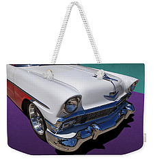 Red And White 1950s Chevrolet Wagon Weekender Tote Bag