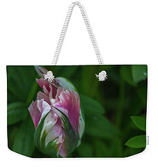 Red And White Bud 1 Weekender Tote Bag by Timothy Latta