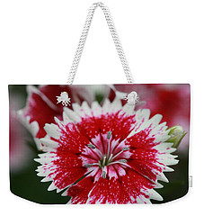 Red And White Flower Weekender Tote Bag by Tim Stanley