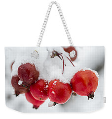 Weekender Tote Bag featuring the photograph Red And White by Sebastian Musial