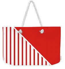 Red And White Triangles Weekender Tote Bag by Linda Woods