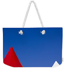 Red And White Triangles Weekender Tote Bag by Prakash Ghai