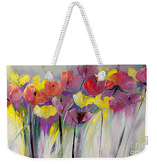 Red And Yellow Floral Field Painting Weekender Tote Bag
