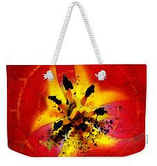 Red And Yellow Flower Weekender Tote Bag by Judi Saunders