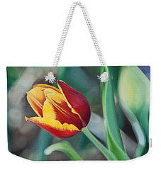Weekender Tote Bag featuring the painting Red And Yellow Tulip by Joshua Martin