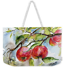 Red Apples And Bees Tree Branch Weekender Tote Bag