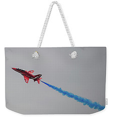 Weekender Tote Bag featuring the photograph Red Arrow Blue Smoke - Teesside Airshow 2016 by Scott Lyons