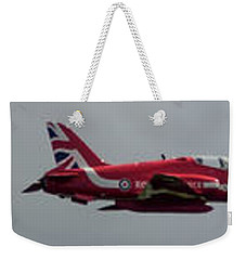 Weekender Tote Bag featuring the photograph Red Arrow Straight - Teesside Airshow 2016 by Scott Lyons