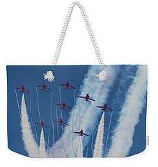 Red Arrows At Duxford Weekender Tote Bag