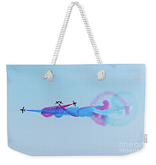 Weekender Tote Bag featuring the photograph Red Arrows Break by Gary Eason