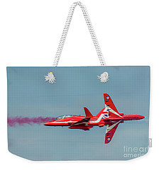 Weekender Tote Bag featuring the photograph Red Arrows Crossover by Gary Eason