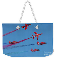 Weekender Tote Bag featuring the photograph Red Arrows Enid Break by Gary Eason