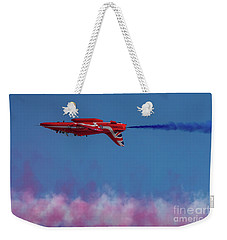 Weekender Tote Bag featuring the photograph Red Arrows Hawk Inverted  by Gary Eason
