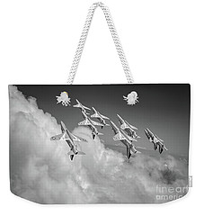 Weekender Tote Bag featuring the photograph Red Arrows Sky High Bw Version by Gary Eason