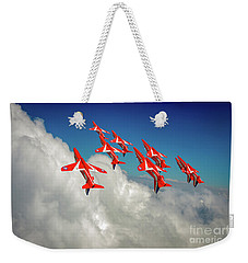 Weekender Tote Bag featuring the photograph Red Arrows Sky High by Gary Eason