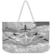 Weekender Tote Bag featuring the photograph Red Arrows Smoke On Bw Version by Gary Eason