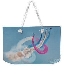 Weekender Tote Bag featuring the photograph Red Arrows Twister by Gary Eason