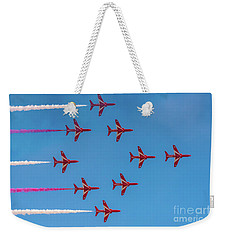 Weekender Tote Bag featuring the photograph Red Arrows Typhoon Formation by Gary Eason