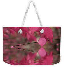 Red Autumn Leaf Reflections Weekender Tote Bag by Judy Palkimas