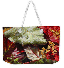 Weekender Tote Bag featuring the painting Red Autumn - Wasilla Leaves by Karen Whitworth