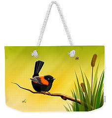 Weekender Tote Bag featuring the digital art Red Backed Fairy Wren by John Wills