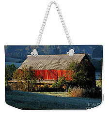 Weekender Tote Bag featuring the photograph Red Barn by Douglas Stucky