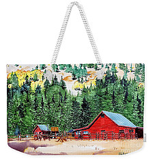 Red Barn In Autumn Weekender Tote Bag