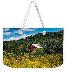 Weekender Tote Bag featuring the photograph Red Barn In Early Autumn by Shane Holsclaw
