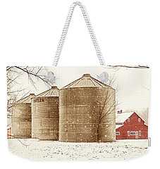 Weekender Tote Bag featuring the photograph Red Barn In Snow by Marilyn Hunt