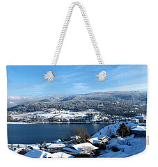 Weekender Tote Bag featuring the photograph Red Barn In The Distance by Will Borden