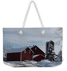 Red Barn In The Snow Weekender Tote Bag