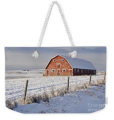 Red Barn In Winter Coat Weekender Tote Bag