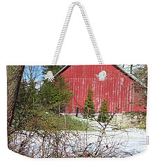 Weekender Tote Bag featuring the photograph Red Barn by Melinda Blackman