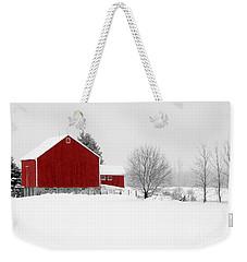 Red Barn Winter Landscape Weekender Tote Bag