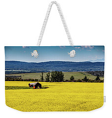 Red Barns In A Sea Of Canola Weekender Tote Bag