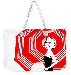 Weekender Tote Bag featuring the digital art Red Beach Umbrella by Cindy Garber Iverson