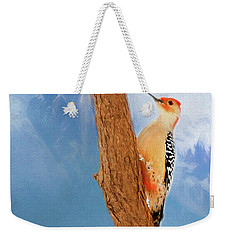 Weekender Tote Bag featuring the digital art Red Bellied Woodpecker by Darren Fisher