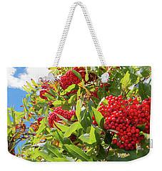 Red Berries, Blue Skies Weekender Tote Bag