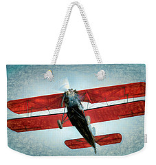 Weekender Tote Bag featuring the photograph Red Biplane by James Barber