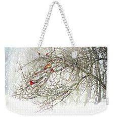 Weekender Tote Bag featuring the digital art Red Bird Convention by Sue Collura