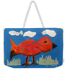Red Bird In Grass Weekender Tote Bag