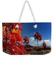 Weekender Tote Bag featuring the photograph Red Bird Of Paradise by Chris Tarpening
