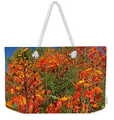 Weekender Tote Bag featuring the photograph Red Bird Of Paradise Garden by Chris Tarpening