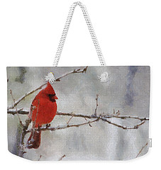 Red Bird Of Winter Weekender Tote Bag